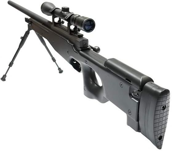 WELL manuálna sniperka MB01C s puškohľadom a nožičkami - čierna (MB01C)