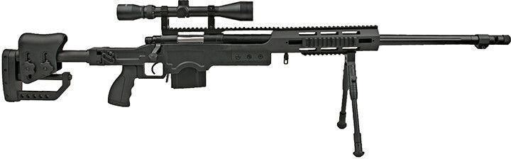 WELL manuálna sniperka M24E1 ESR /w bipod & scope, MB4411D - čierna (MB4411D)