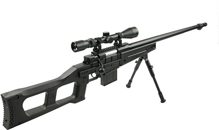 WELL manuálna sniperka MB04D s puškohľadom a nožičkami