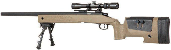 Airsoft SA Sniper Rifle CORE RIS /w scope & bipod, tan, SA-S02