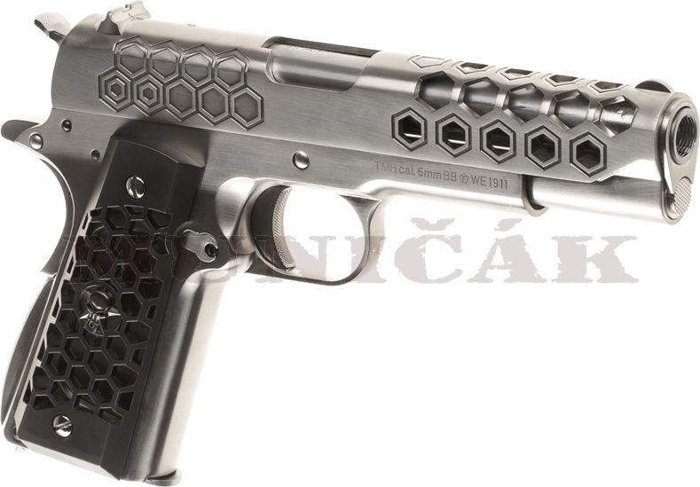 WE GBB M1911 Hex Cut Full Metal - strieborná