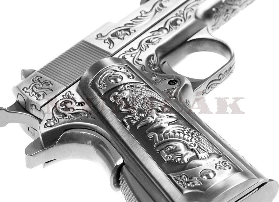 WE GBB M1911 Etched - strieborná