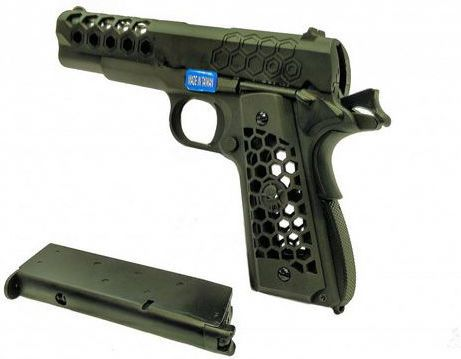 WE GBB M1911 Hex Cut Full Metal - čierna