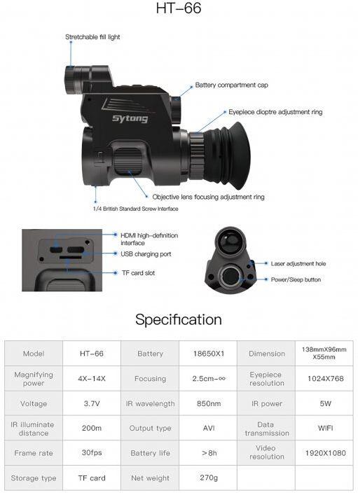 SYTONG Nočné videnie HT-66 Zásadka s adaptérom 42mm
