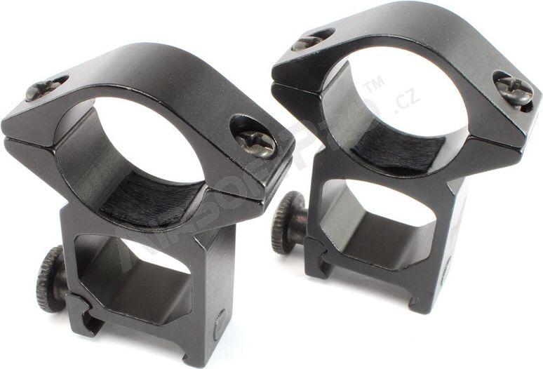 ASG Montážne krúžky nízke 25 mm - čierne v.3