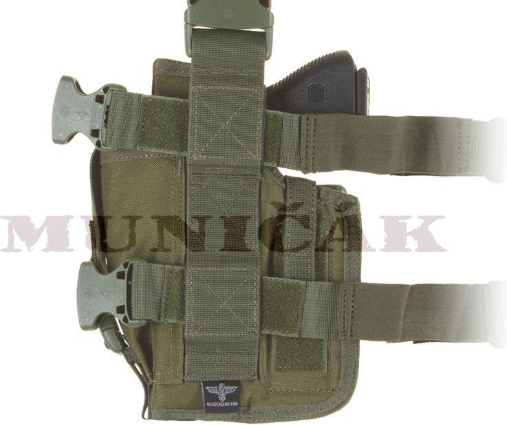INVADER GEAR Taktické stehenné puzdro na pištoľ + 2 zásobníky, pravé - olivové, (13162)