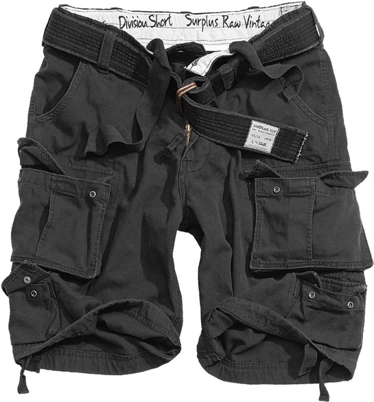 SURPLUS krátke nohavice Division, čierne, 07-5598-63