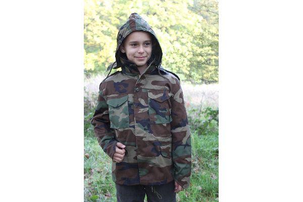 MILTEC Detská bunda M65 s futrom - woodland, (12002020)