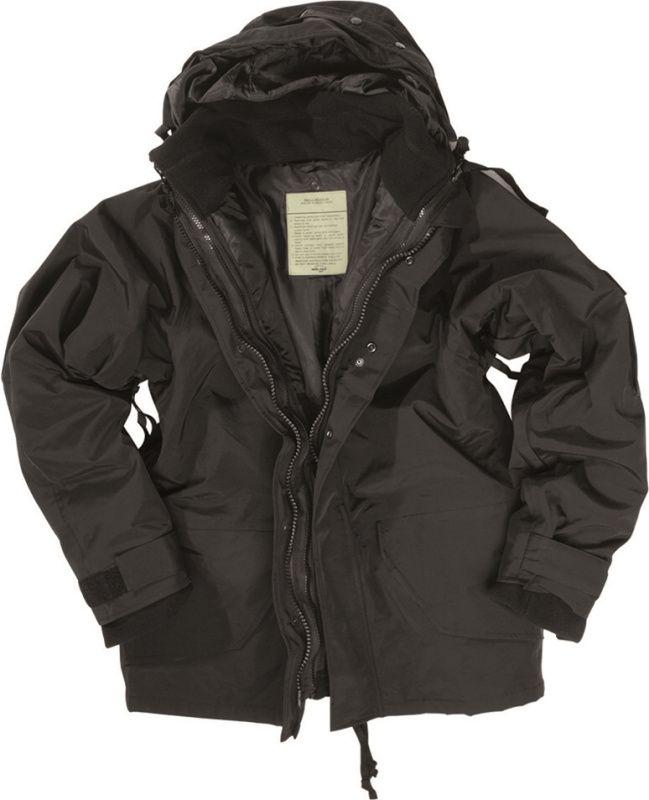 US Parka s membránou do dažďa s fleece vložkou, čierna