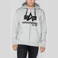 ALPHA INDUSTRIES Mikina Big A Classic Zip Hoody, šedá, 103307/17