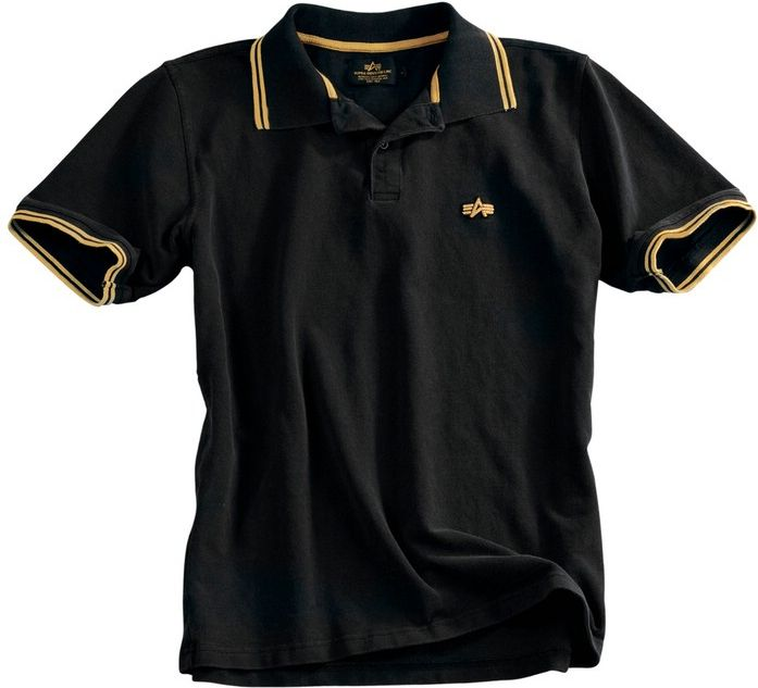 ALPHA INDUSTRIES tričko Twin Stripe Polo II, čierne/žlté, 166602/214