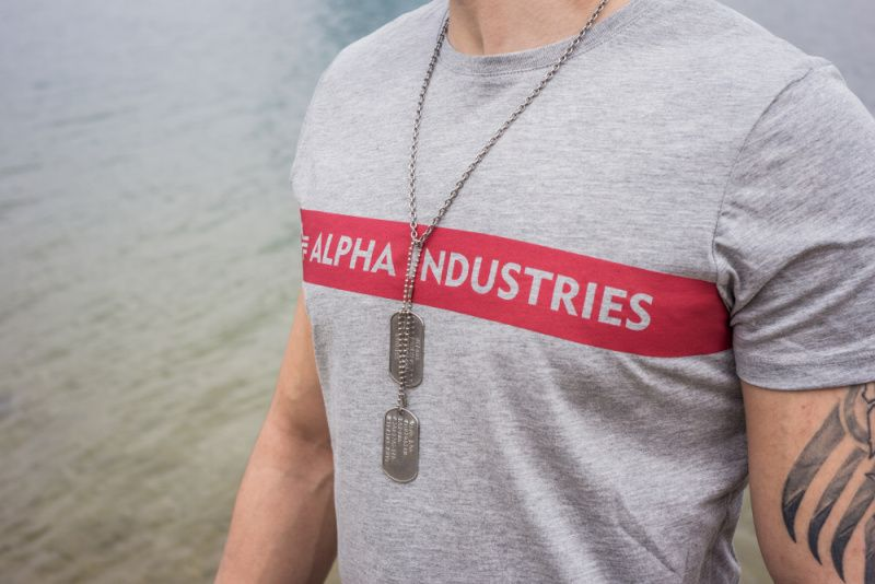 ALPHA INDUSTRIES tričko Remove Before Flight, šedé, 166507/17