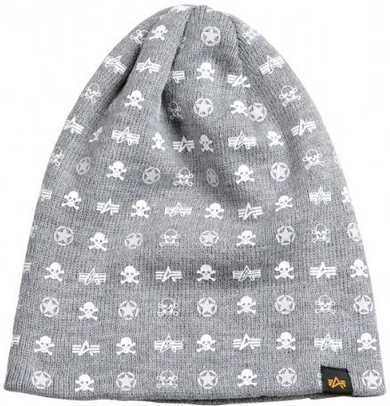 ALPHA INDUSTRIES Čiapka Beanie All Over Loose Beanie, šedá, 168908/17