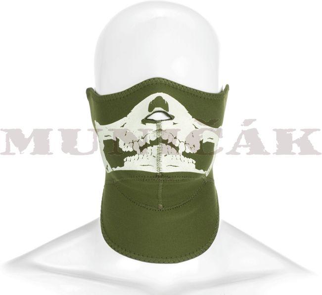 INVADER GEAR Neoprénová maska s lebkou - olivová, (5065)