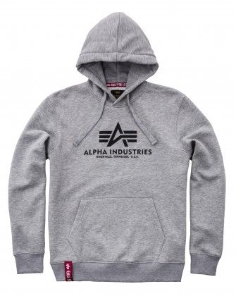 ALPHA INDUSTRIES Mikina Basic Hoody, šedá, 178312/17