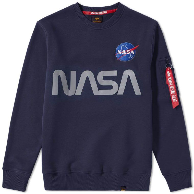 ALPHA INDUSTRIES Mikina NASA Reflective Sweater - modrá, (178309/07)