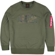 ALPHA INDUSTRIES Mikina Camo Print Sweat, dark olive, 176301/142