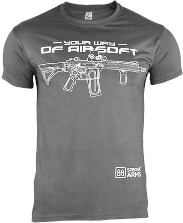 SPECNA ARMS Tričko Your Way of Airsoft M4 horizontal - šedé/biele (SPE-23-025380)