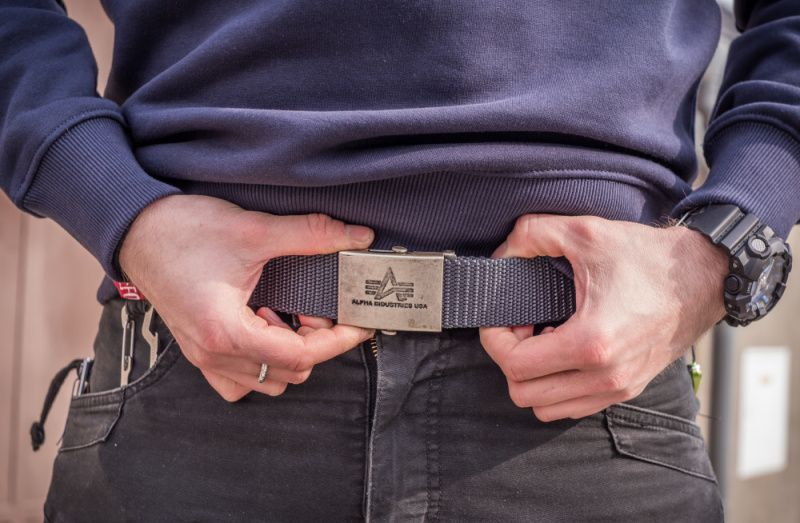 ALPHA INDUSTRIES Opasok Heavy Duty Belt - šedý, (100906/04)