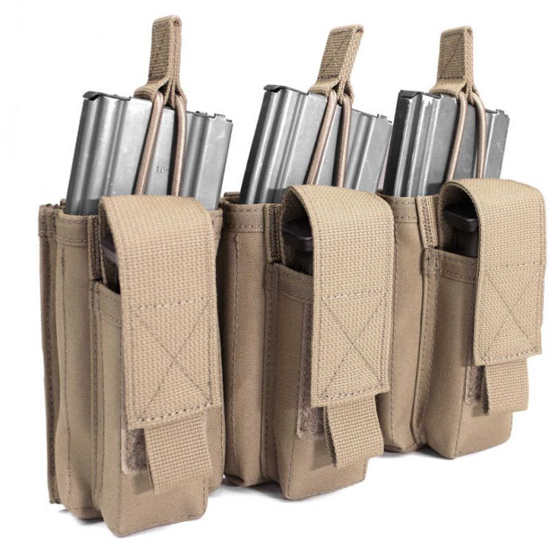 Warrior Triple MOLLE Open 5.56mm Mag/Bungee Retention, Coyote Tan (W-EO-TMOP-TP-CT)