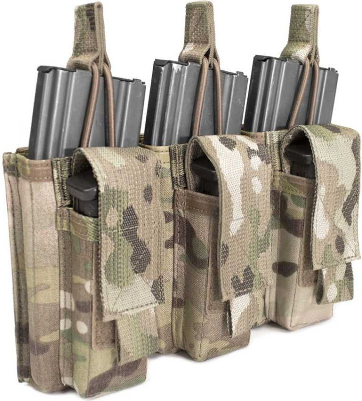 Warrior Triple MOLLE Open 5.56mm Mag/Bungee Retention, MultiCam (W-EO-TMOP-TP-MC)