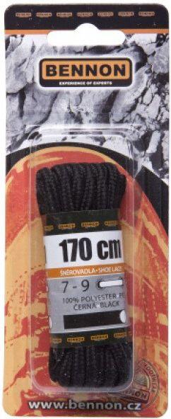 BENNON Šnúrky do topánok 170cm - čierne, (D31170)