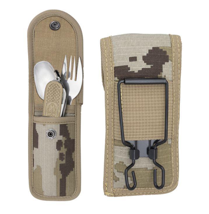 ALBAINOX Vreckový nožík s príborovým setom - desert camo (33041)