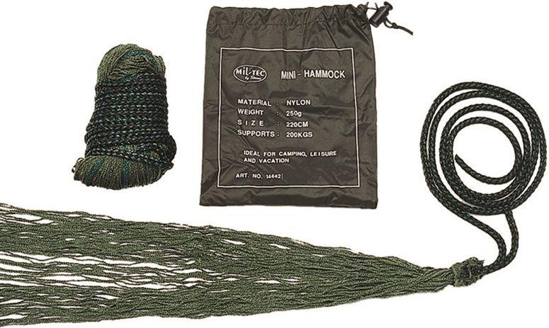 Sieťovaná závesná posteľ Hamaka Miltec - olivová