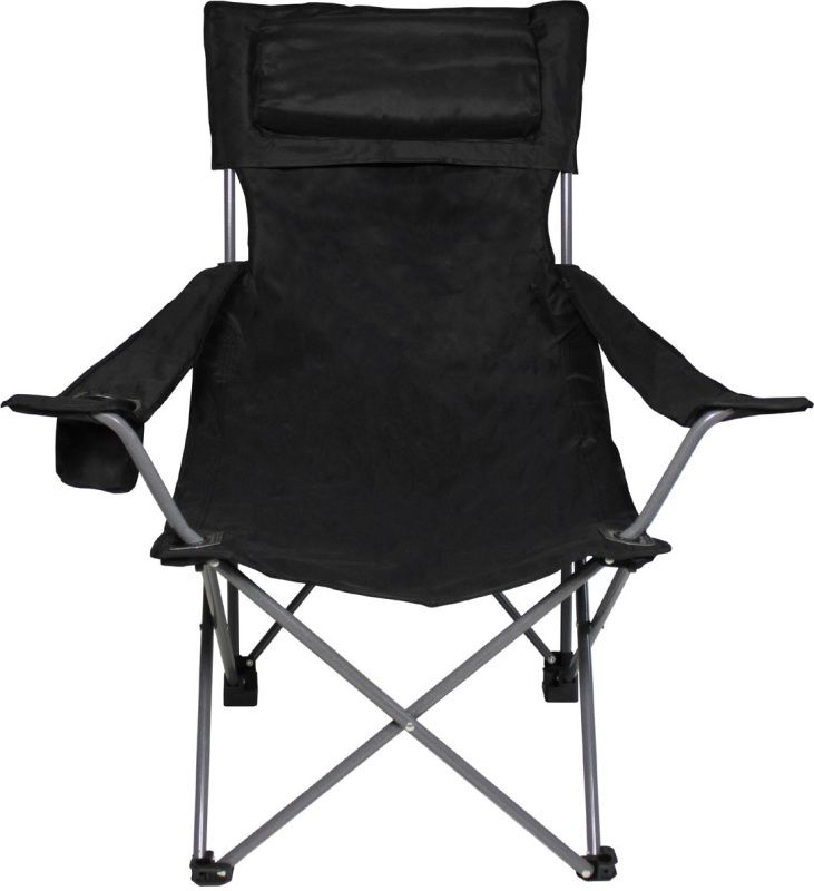 Skladacia stolička De Lux, čierna, chrbtová a lakťová opierka, 31881A