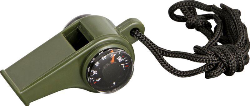 EXPLORER Píšťalka s kompasom/teplomerom, na krk - olivová, (EXP15)