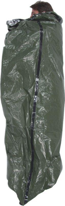 Záchranná reflexná termoizolačná fólia/ bivakovací vak Pro Force, olivová/strieborná