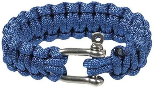 MILTEC Paracord náramok Cobra na ruku 22mm, kovová pracka - modrý (16370403)