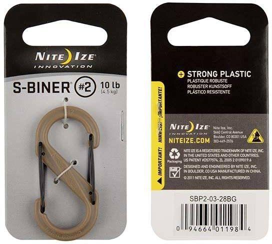 NITE IZE Karabína S-Biner #2 Plastic Black Gate, 1ks - coyote (SBP2-03-28BG)