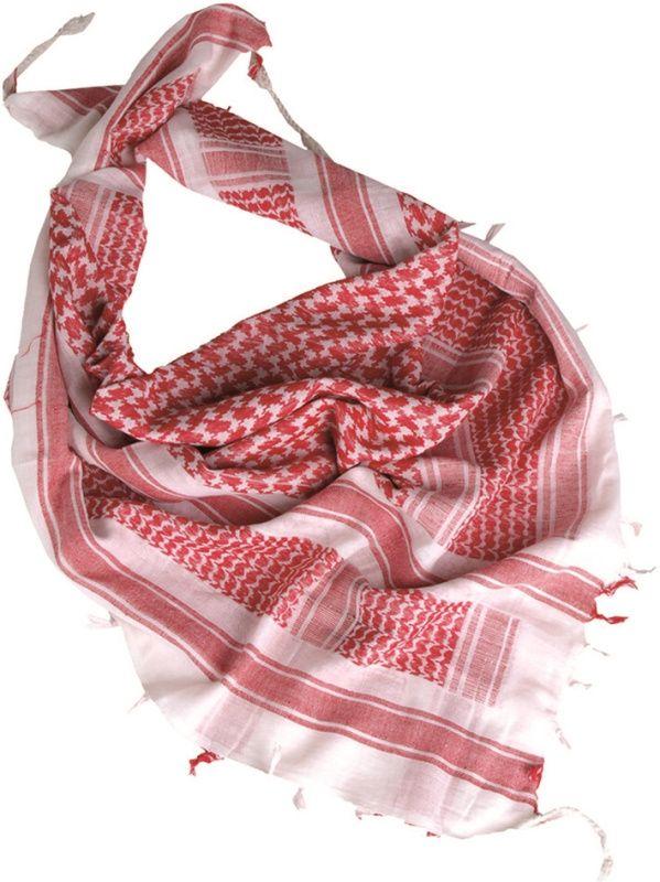MILTEC Shemag - biely/červený, (12614000)