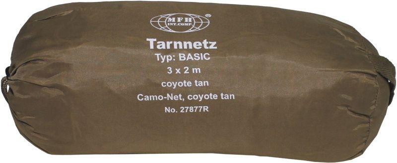 MFH Maskovacia sieť BASIC, 3x2m, s taškou - coyote, (27877R)
