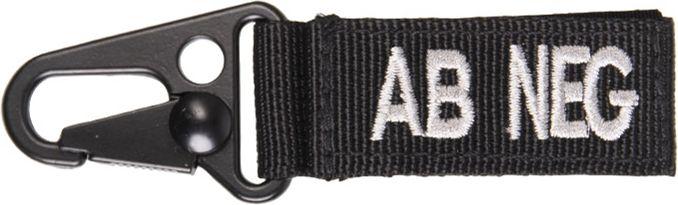MILTEC prívesok na kľúče AB NEG - čierny, (15917602)