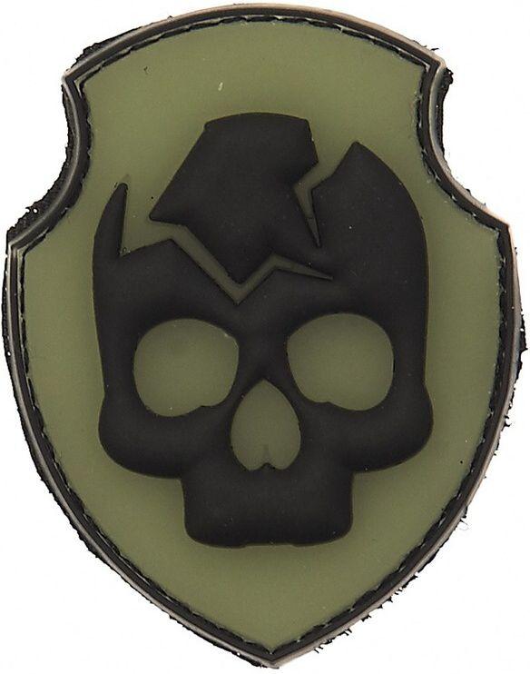 3D PVC Nášivka/Patch Ghost Skull - olivová