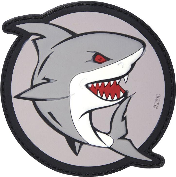 3D PVC Nášivka/Patch Attacking shark - šedá / červená, (444130-5168)