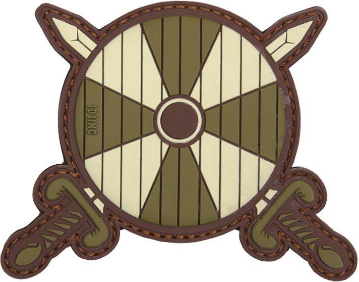 3D PVC Nášivka/Patch Viking shield + 2 swords - zelená, (444130-5040)