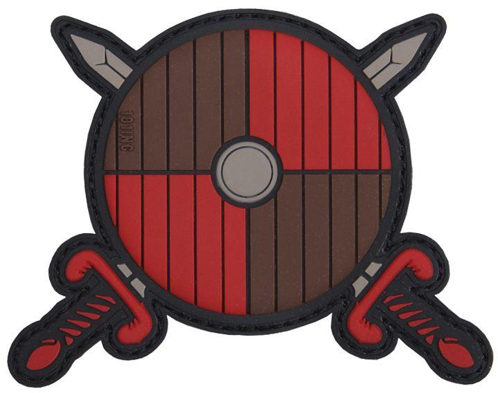 3D PVC Nášivka/Patch Viking shield + 2 swords - červená/hnedá, (444130-5039)