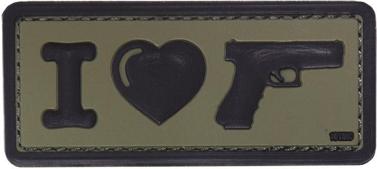 3D PVC Nášivka/Patch I Love my sidearm - olivová, (444130-4087)