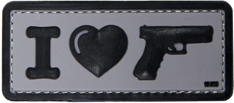 3D PVC Nášivka/Patch I Love my sidearm - čierna, (444130-4089)
