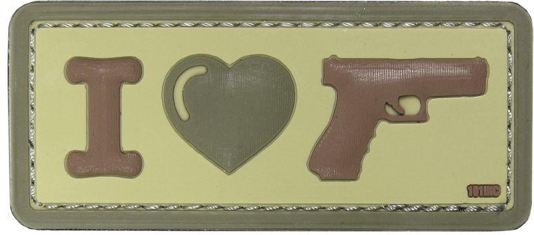 3D PVC Nášivka/Patch I Love my sidearm - coyote, (444130-4090)