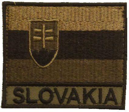 Textilná Nášivka/Patch SK vlajka + SLOVAKIA - tan