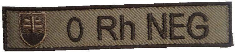 Textilná Nášivka/Patch 0 NEG, 10x2cm - tan