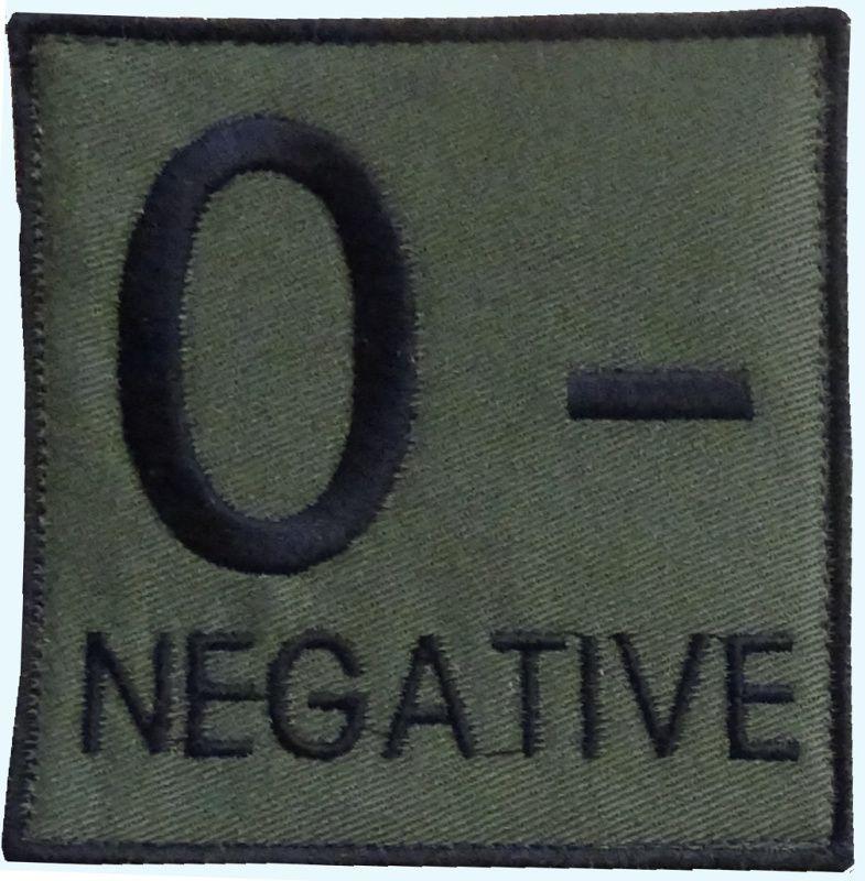 Textilná Nášivka/Patch 0 NEG, 9x9cm - olivová