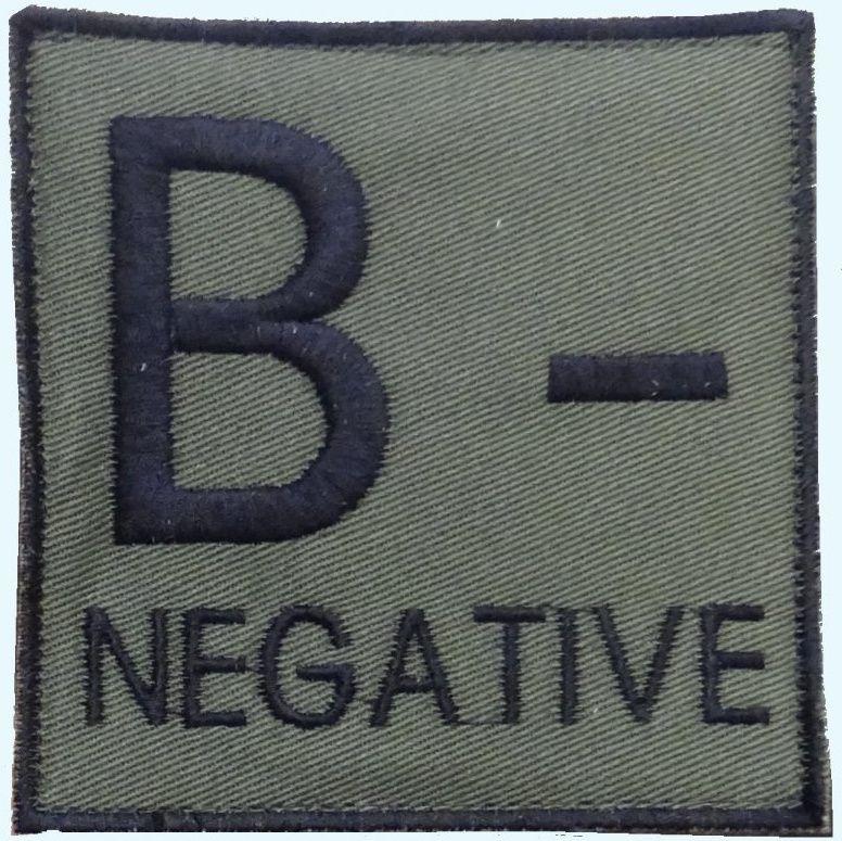 Textilná Nášivka/Patch B NEG, 9x9cm - olivová