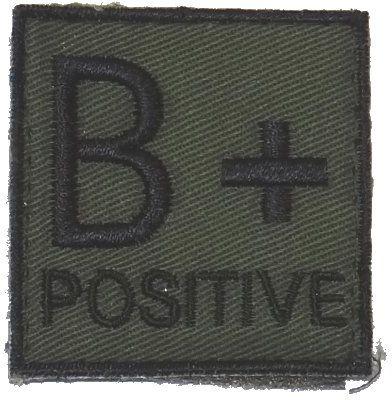 Textilná Nášivka/Patch B POS, 4,5x4,5cm - olivová