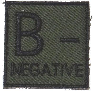 Textilná Nášivka/Patch B NEG, 4,5x4,5cm - olivová