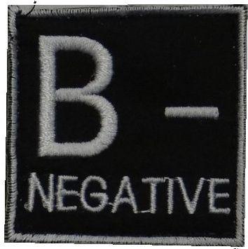 Textilná Nášivka/Patch B NEG, 4,5x4,5cm - čierna